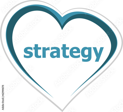 marketing concept, strategy word on love heart