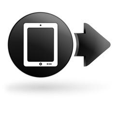 tablette numérique sur bouton noir