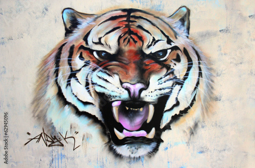 Brüllender Tiger Graffiti