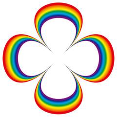 虹色の四葉のクローバー型フレーム