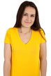 woman with blank yellow t-shirt