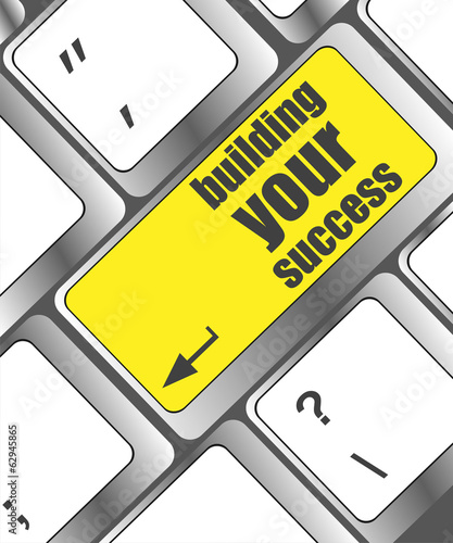 building your success words on button