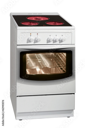 Modern white stove isolated on white background