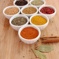 Assorted spices with paprika in the foreground