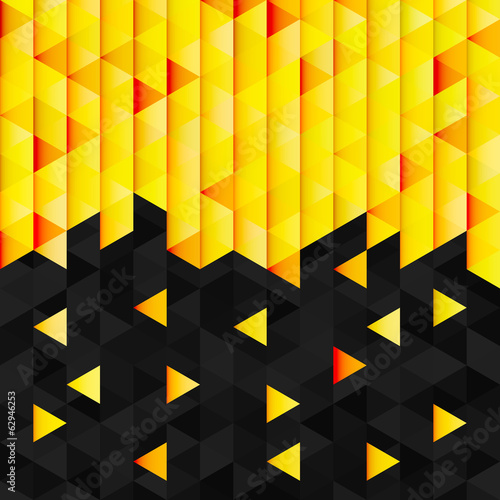 Geometric pattern from yellow orange triangle