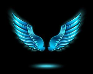Blue glowing angel wings