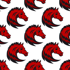 Seamless pattern with red horse stallions