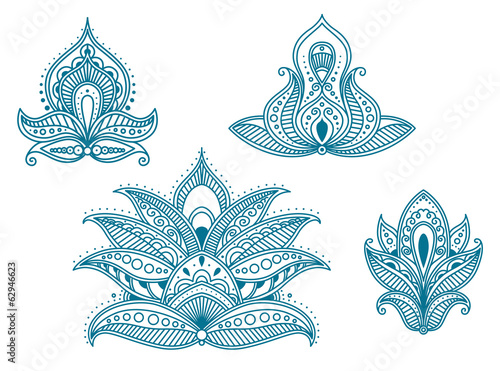 Abstract persian and indian floral elements