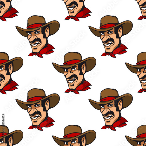Seamless background with cowboy in hat