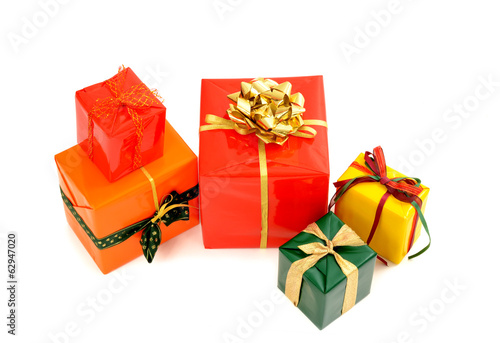 Pile of nicely wrapped presents.Christmas gift isolated on white