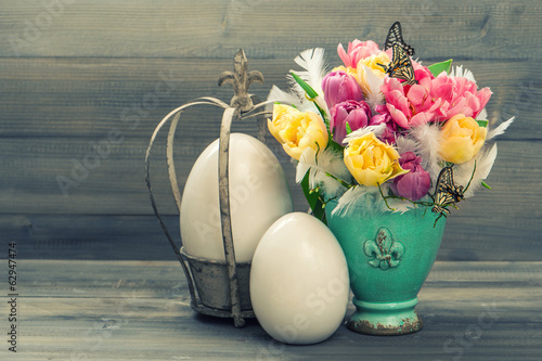 tulip flowers with retro easter eggs decoration