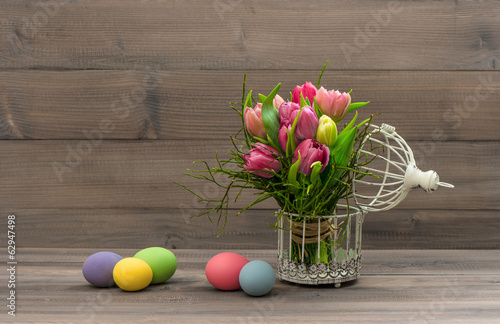 colorful tulip flowers and easter eggs