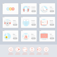 Responsive flat UI Icons elements for templates
