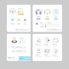 Responsive flat UI elements for website and mobile template