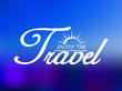 Travel header on blue sea background