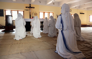 Missionaries of Charity in prayer in Mother House, Kolkata