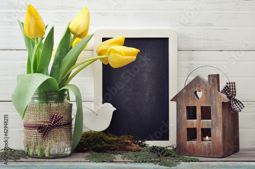 Tulips bouquet with blackboard