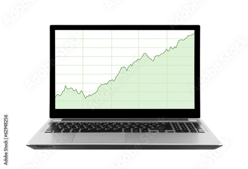 Laptop with stock charts. Clipping path included.
