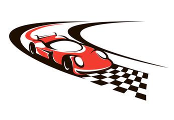 Speeding racing car crossing the finish line