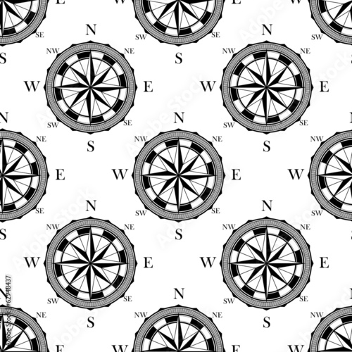 Seamless pattern of vintage compasses