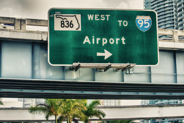 Airport directions. Interstate sign