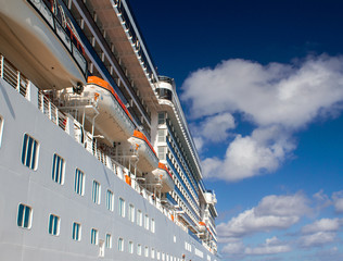 Blue sky over Cruise Ship