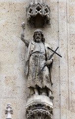 St. John the Baptist on the facade of the Zagreb Cathedral