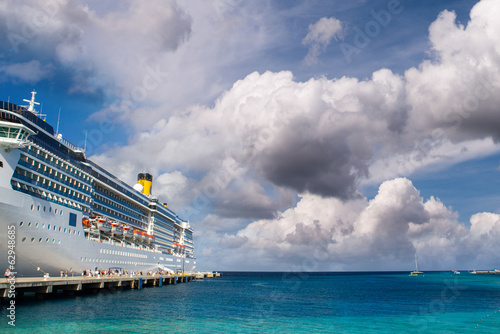 Cruise ship anchored in a caribbean port