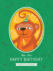 Monkey Cartoon Birthday card design