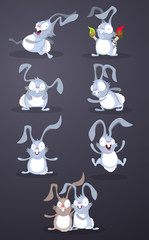 Set of funny and crazy rabbits