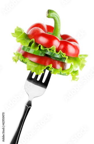 Vegetables on the fork