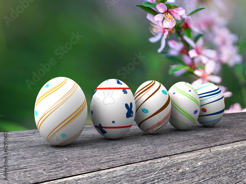 Easter colorful eggs on a wooden background