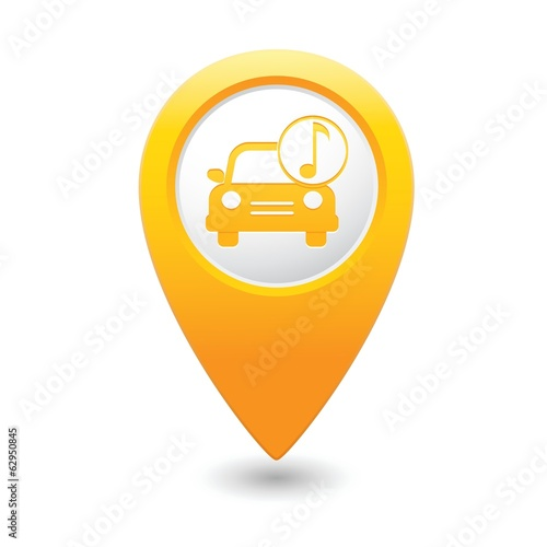 Car service. Car with music icon on map pointer