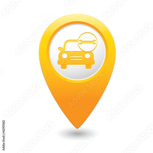 Car service. Car with tool icon on map pointer