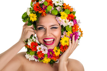 Funny girl with flower wreath