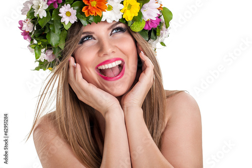 beauty woman with summer field wild flowers fresh natural