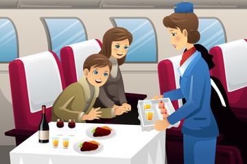 Flight attendant in an airplane
