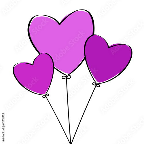 Three Heart Balloons
