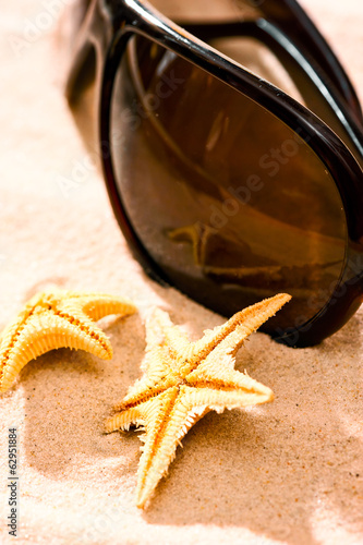 two starfish sunglasses on the beach