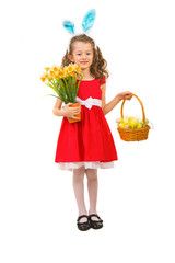 Beauty girl with Easter basket