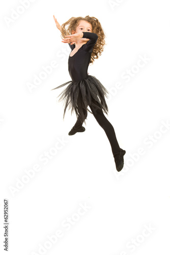 Beauty ballerina girl jumping