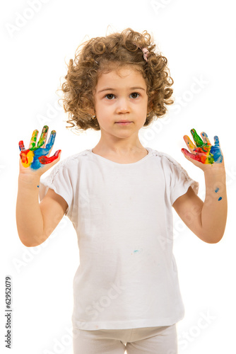 Little girl showing colorful palms