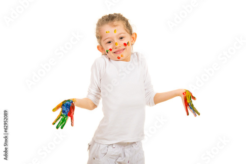 Happy girl  with colorful hands gesturing