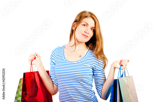 girl in a striped blouse with shopping