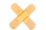 two band-aid in the form of a cross glued poster