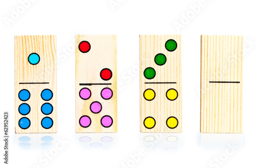 four different dominoes on white background