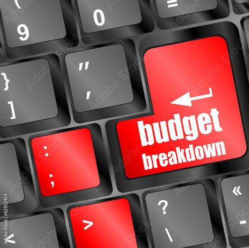 budget breakdown words on computer pc keyboard keys