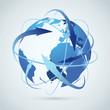 Global business idea - earth arrows paths