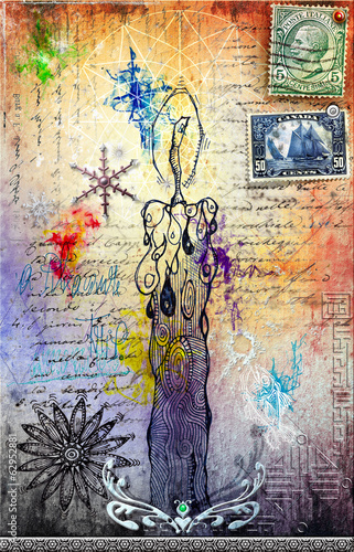 Collage with graffiti,stamps and candle
