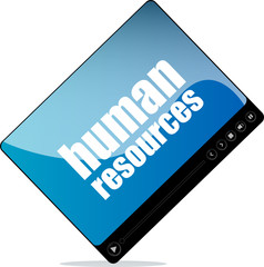 Video player for web with human resources words